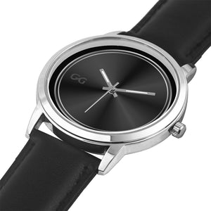 GG Black & Silver Stainless Steel Genuine Leather Band Water resistance Unisex Watch