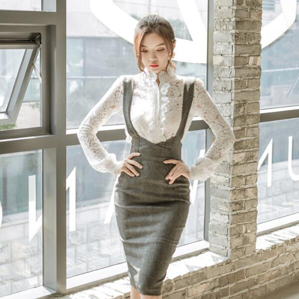 fda38eab29325 CLOBEE 2-Piece Vintage Office Long Sleeve Lace Top with Overall Pencil Skirt   (