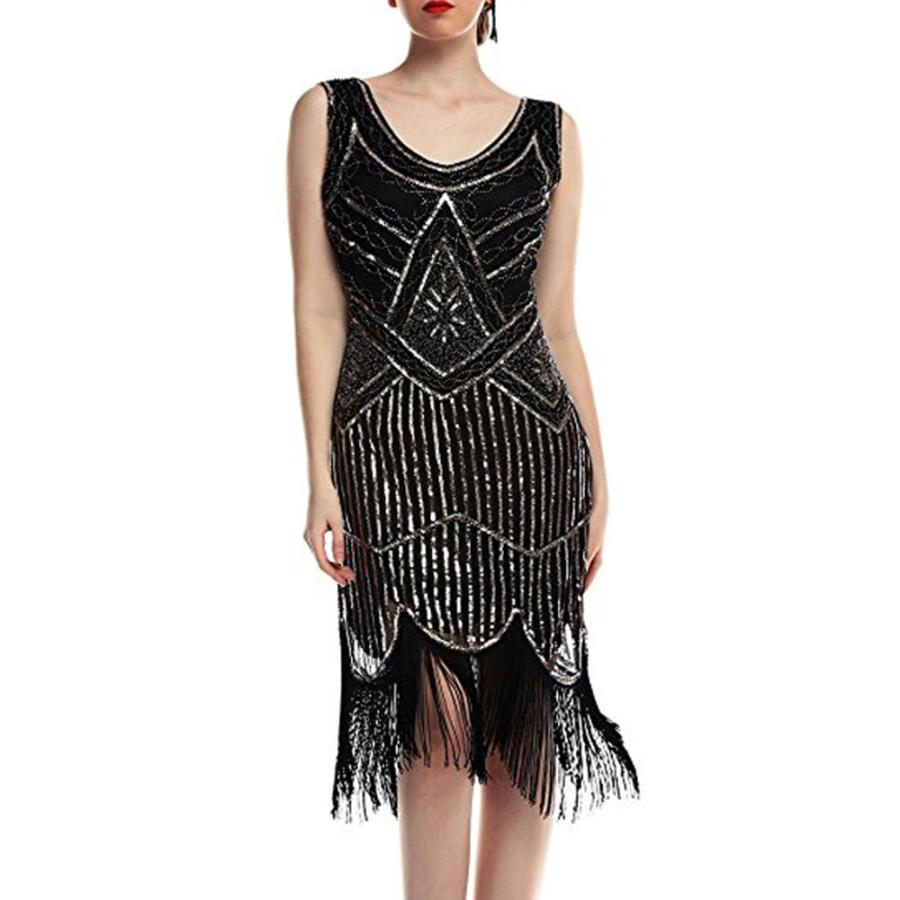 FEITONG 1920 s Summer Vintage O-Neck Night Hem Flapper Gown  (S-XL ... 37597ab98a12