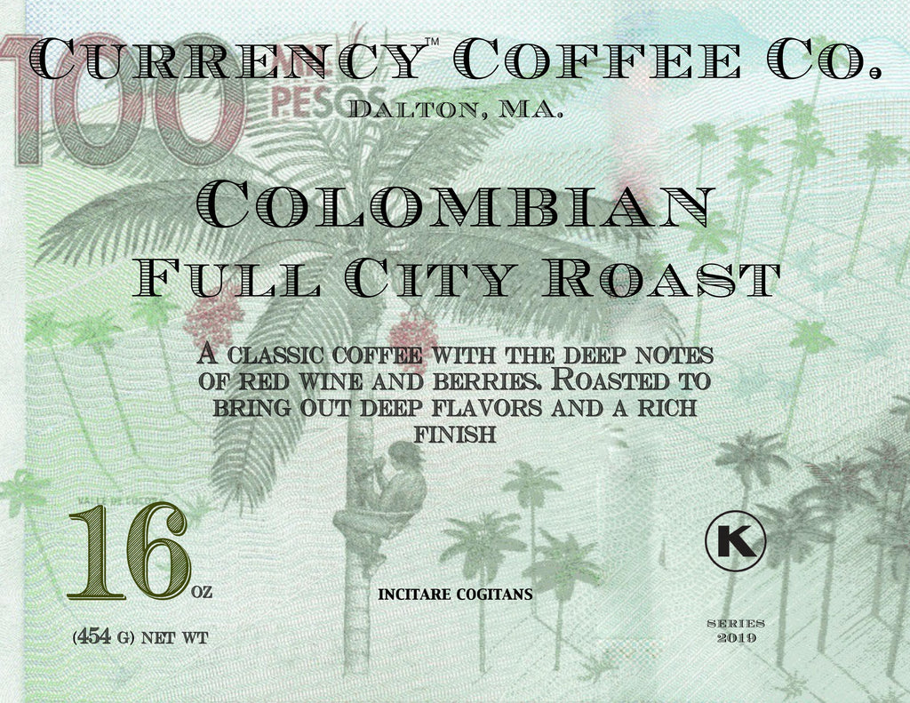 Full city roast Colombian Supremo coffee. Specialty coffee, highly graded