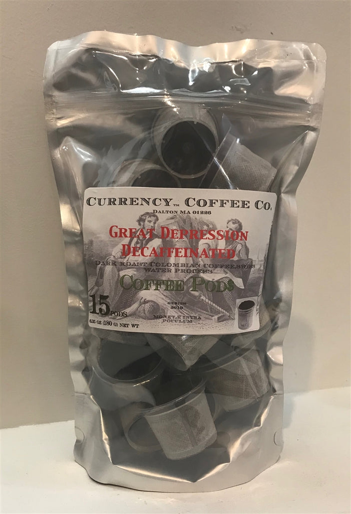 Currency™ Coffee Great Depression Decaffeinated Pods 15-count