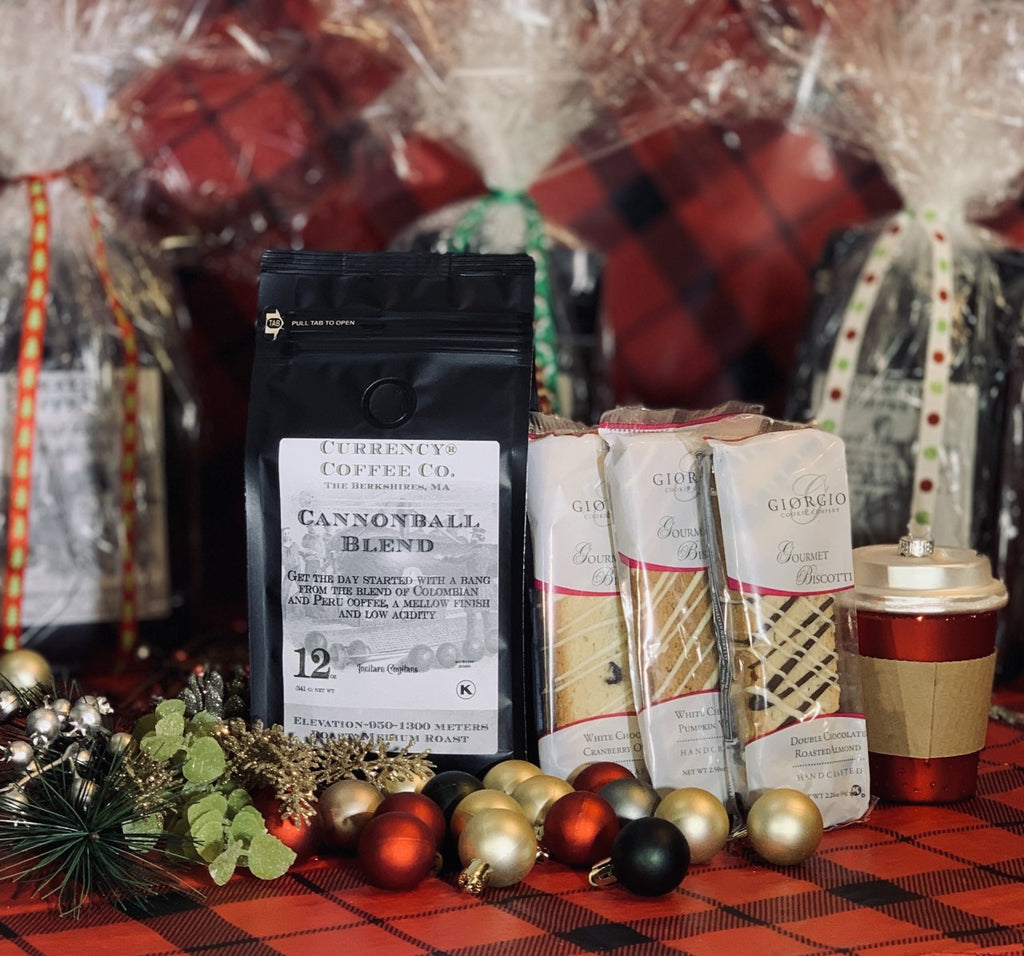 Holiday Gift Set: 12oz Bag of Coffee + 3 Assorted Gourmet Biscotti
