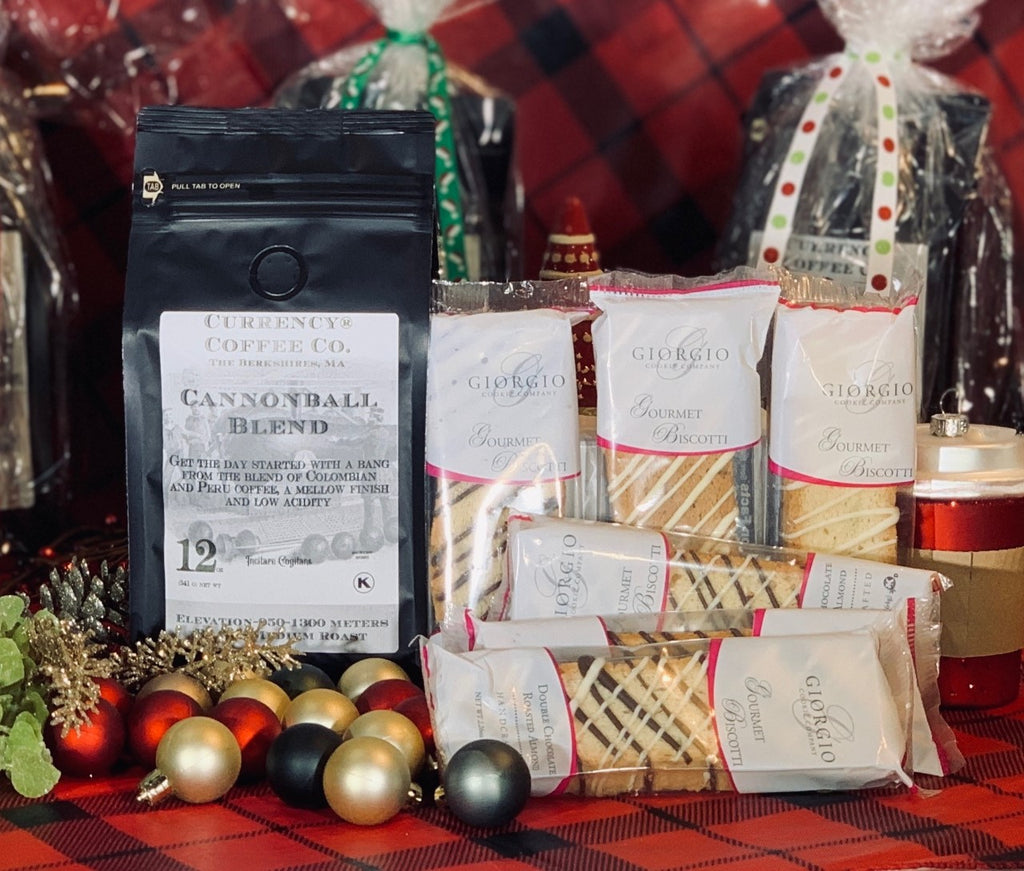 Holiday Gift Set: 12oz Bag of Coffee + 6 Assorted Gourmet Biscotti