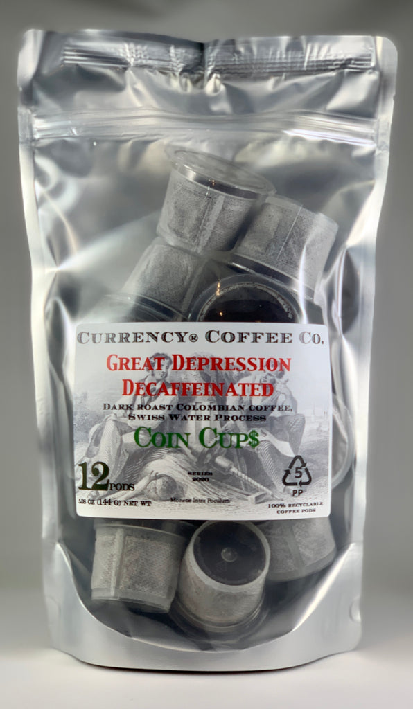 Currency® Coffee Great Depression Decaffeinated Pods 12-count