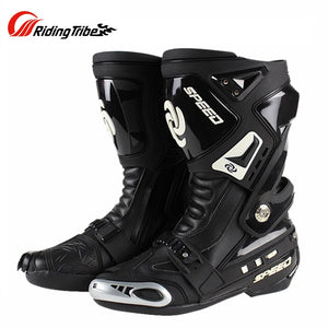 Riding Tribe Long  Motorcycle Boots Microfiber Leather Waterproof Men Racing Motocross Riding Shoes Motorbike Boots Botas Moto
