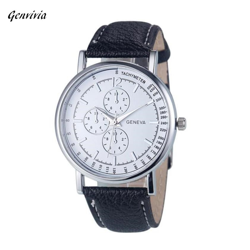 Fashion Women Men Diamond Analog Quartz Faux Leather Wrist Watch Watches Gift watch man luxury Brand 2017