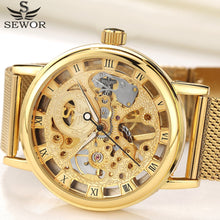 Load image into Gallery viewer, Top Brand Luxury SEWOR Stainless Steel Mesh Gold Skeleton Mechanical Watch Men Transparent Hollow Clock Male Watches