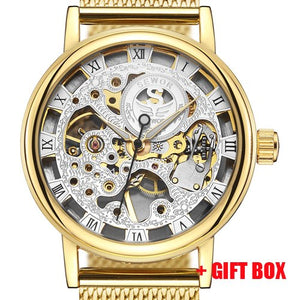 Top Brand Luxury SEWOR Stainless Steel Mesh Gold Skeleton Mechanical Watch Men Transparent Hollow Clock Male Watches