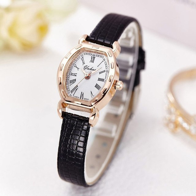 Fashion Ladies Leather Strap Watch Elegant Women Slim Watches Quartz Female Clock Small Wristwatch Rose Gold Case Relojes 2017