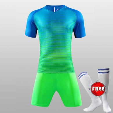 FREE SOCKS Custom Team Kids Breathable Soccer Set 2017 2018 Soccer Jerseys Uniforms Children Football Kit Shirt Tracksuit