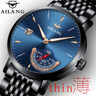 AILANG 2018 top brand luxury watch automatic men's watch black dial waterproof calendar multi-functional mechanical men's watch