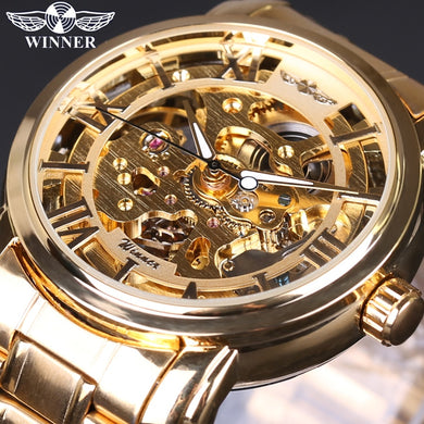 2018 Men's Watch Top Brand Luxury Winner Skeleton Watch Full Steel Strap Gold Automatic Mechanical Watches Dress Male Wristwatch