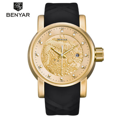 BENYAR Luxury Brand Watches Men Waterproof Silicone Strap Quartz Fashion simple Calendar Multifution Clock Chinese Dragon Watch