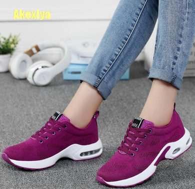 Women Black Sneakers Breathable Air Mesh Lace Up