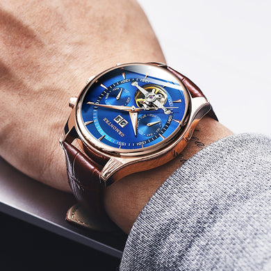 Men's Self-Wind Tourbillon Mechanical Watches Water Resistant Automatic Skeleton Watch Men Relojes Hombre 2018 Dropship Blue