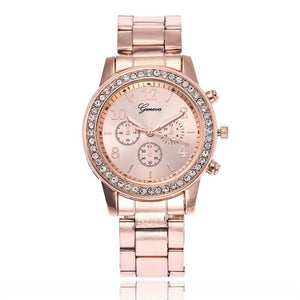 Hot Fashion Rose Goldm Full Steel Rhinestone Analog Quartz Geneva Women Dress Watches Dropshipping