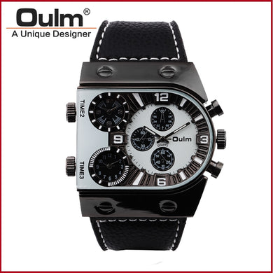 Times Square Quartz Watches Oulm Brand Men Watches HP9315GUN Analog Brass Fashion Casual Buckle Man Wristwatches Alloy