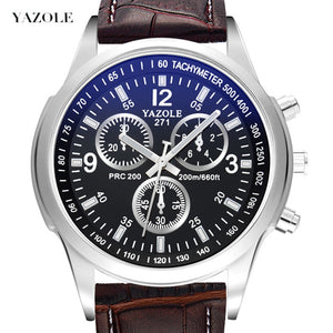 2018 Top Luxury Brand YAZOLE Men Watches Leather Clock Mens Quartz Sports Watch Men Casual Military Wristwatch relogio masculino