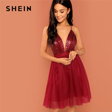 SHEIN Burgundy Sexy Party Backless Sequin Detail Mesh Halter High Waist Solid Dress