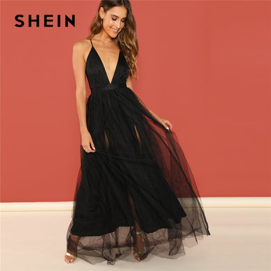 SHEIN Black Night Out Plunging Neck Deep V Neck Crisscross Back Cami Sleeveless Backless Dress