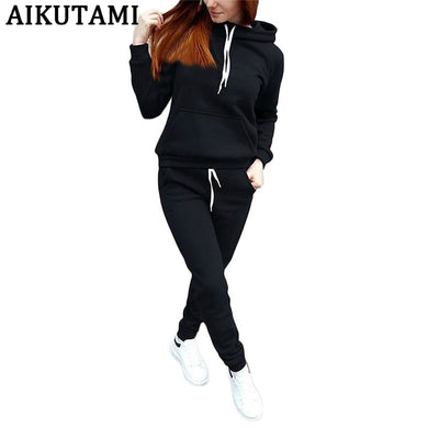 Autumn Winter Jogging Suits for Women Sport Suit Hooded Sweater Fleece Training Running Sport Clothes Gym Sports Tracksuit