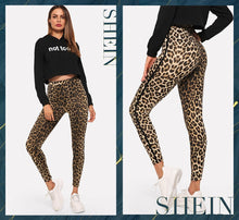 Load image into Gallery viewer, SHEIN Multicolor Casual Athleisure Leopard Print High Waist Leggings