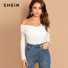 Load image into Gallery viewer, SHEIN White Asymmetrical Neck Solid Tee Rib-Knit