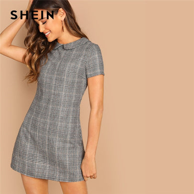 SHEIN Grey 100% Cotton Peter-Pan-Collar Plaid Short Sheath Short Sleeve Flared Dress