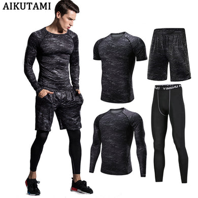 Compression Jogging Sport Suits for Men Running Set Clothes Quick Dry Sports Training Gym Suit Fitness Tracksuit Rashguard Mma