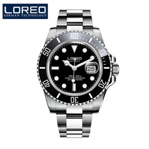 LOREO Mens Watches Top Brand Luxury Business Automatic Mechanical Watch Men Sport Submariner Waterproof 200M Steel Clock 2018