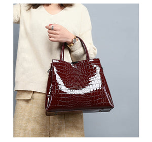 Luxury Brand Crocodile Women Bag Black Red Patent Leather Women Handbags