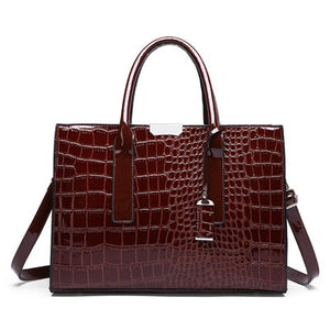 Red Crocodile Patent Leather Tote Bag Women Handbag