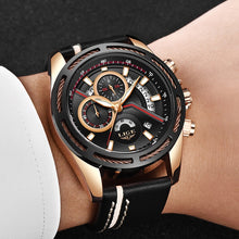 Load image into Gallery viewer, Reloj LIGE Men Quartz Sports Watch With Waterproof Analogue Chronograph Leather Strap Military Watches Man Clock Horloges Mannen