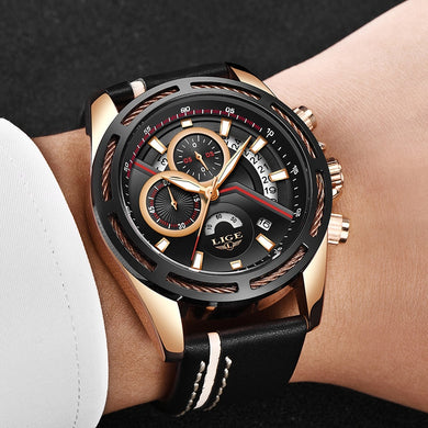 Reloj LIGE Men Quartz Sports Watch With Waterproof Analogue Chronograph Leather Strap Military Watches Man Clock Horloges Mannen