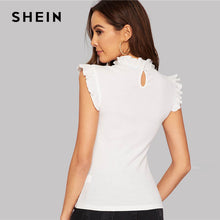 Load image into Gallery viewer, SHEIN White Frilled Trim Keyhole Back Slim Fitted Tee Sleeveless T-shirt