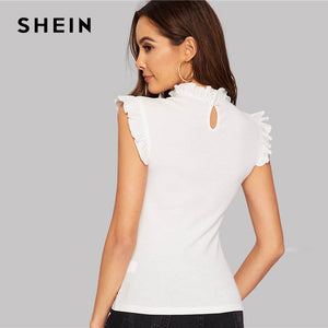 SHEIN White Frilled Trim Keyhole Back Slim Fitted Tee Sleeveless T-shirt