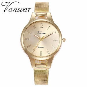 Vansvar Brand Women Mesh Arabic Numbers Watch Fashion Casual Ladies Stainless Steel Quartz Watches Clock Relogio Feminino