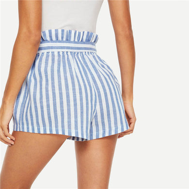 SHEIN Blue or Green Paper-bag Pleated Waist Buttoned Belt Knot Striped Shorts