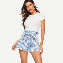 Load image into Gallery viewer, SHEIN Blue or Green Paper-bag Pleated Waist Buttoned Belt Knot Striped Shorts