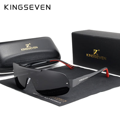 KINGSEVEN Design New Aluminum Men Brand Sunglasses HD Polarized Men's Sun Glasses Integrated Lens Eyewear Goggle Gafas De Sol