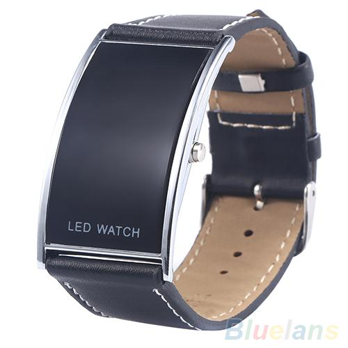 2018 Popular New Brand Luxury Men's Women's LED Digital Date Rectangle Dial Faux Leather Strap Wrist Watch