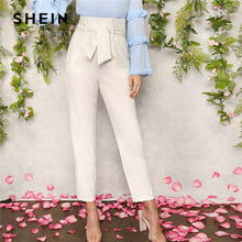 Load image into Gallery viewer, SHEIN Women White Elegant High Waist Self Belted Carrot Plain Pants