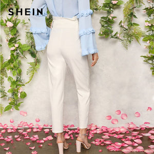 SHEIN Women White Elegant High Waist Self Belted Carrot Plain Pants