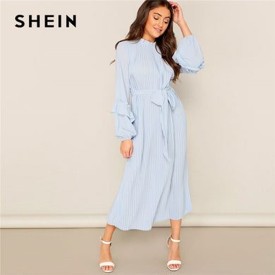SHEIN Lady Casual Blue Frill Neck Belted Solid Pleated Maxi Dress Women