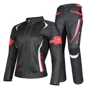 Riding Tribe Women's Motorcycle Jacket Protective Gear Jacket & Moto Pants Suit Jacket Waterproof Touring Motorbike Clothing Set