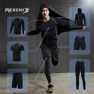 REXCHI 6 Pcs/Set Men's Tracksuit Compression Sports Suit Gym Fitness Clothes Running Jogging Sport Wear Training Workout Tights