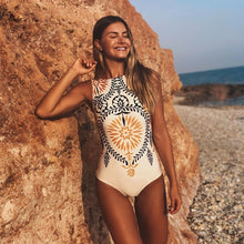 Load image into Gallery viewer, Sexy 2019 Lady High Neck Boho Closed Thong Swimwear Women One piece Swimsuit