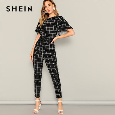 SHEIN Black Flutter Sleeve Belted Grid Print Zipper Jumpsuit