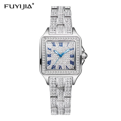 New Full Diamond Steel Watches Woman Quartz Watches Ladies Dress Watch Top Brand Luxury Square Clock Waterproof Relogio Feminino