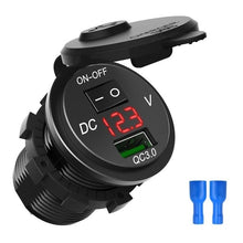 Load image into Gallery viewer, Quick Charge 3.0 USB Car Charger Socket Digital Display Voltmeter USB Charger Socket with ON-OFF Switch for Car Motorcycle ATV